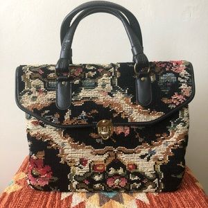 Large Vintage Embroidered Needlepoint Carpet Bag